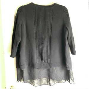 Lucky Brand Black Knit Sweater with Chiffon Layer